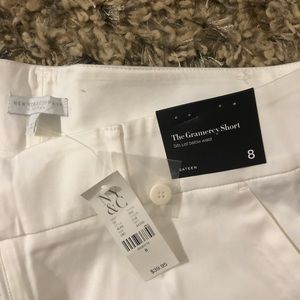 New York & Company Shorts - White sateen Gramercy dress short